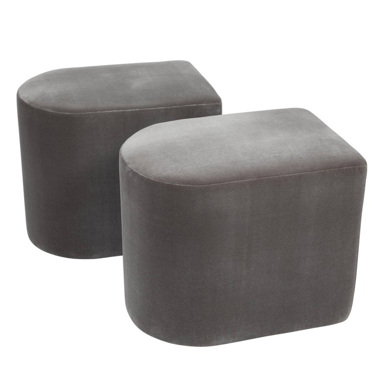 Pair of Milo Baughman D-Shaped Stools on Casters, 1983 For Sale
