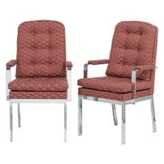 Pair of Milo Baughman Designed Nickel Framed Carver Chairs