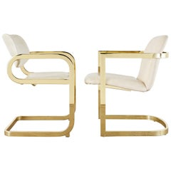 Midcentury Pair of DIA Gold Cantilever Chairs