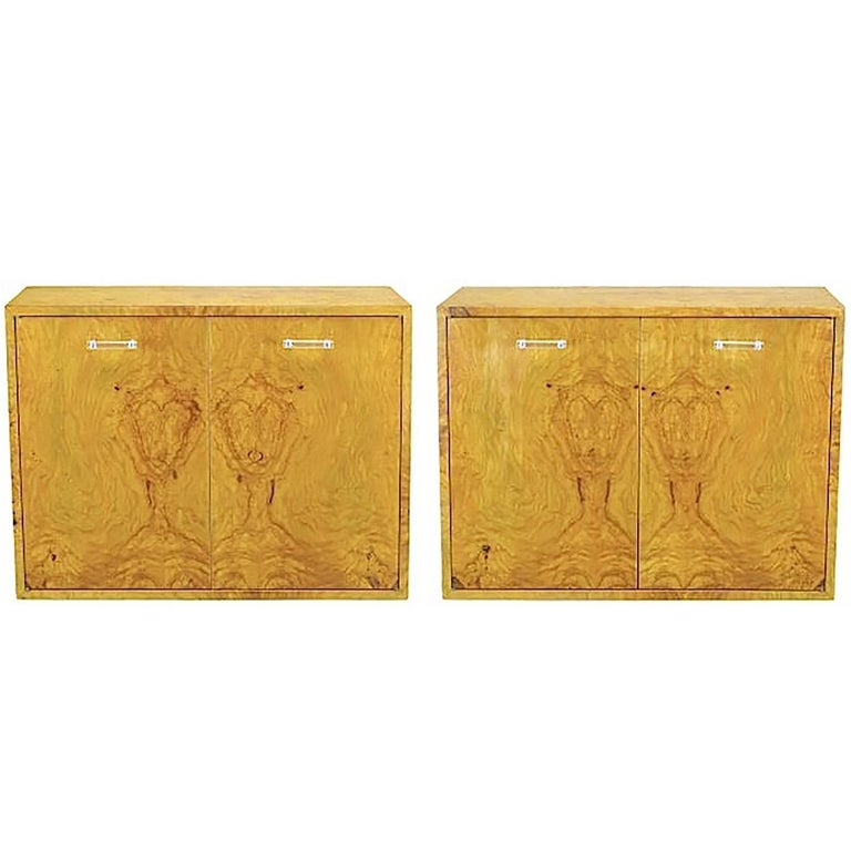 Pair of Milo Baughman for Directional Burled Olive Wall-Mount Cabinets