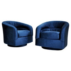 Pair of Milo Baughman for Thayer Coggin Blue Velvet Swivel Lounge Chairs