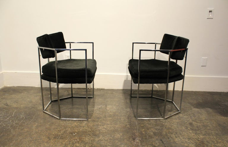 Pair of Milo Baughman for Thayer Coggin Chrome Armchairs 2