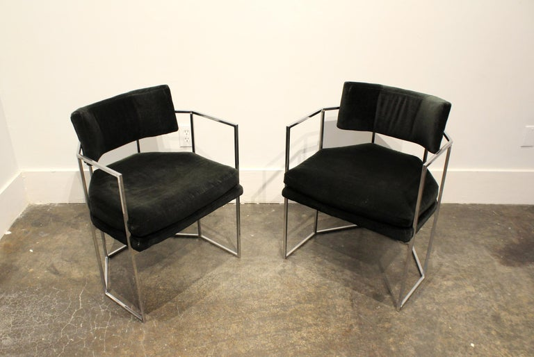 Pair of Milo Baughman for Thayer Coggin Chrome Armchairs 3