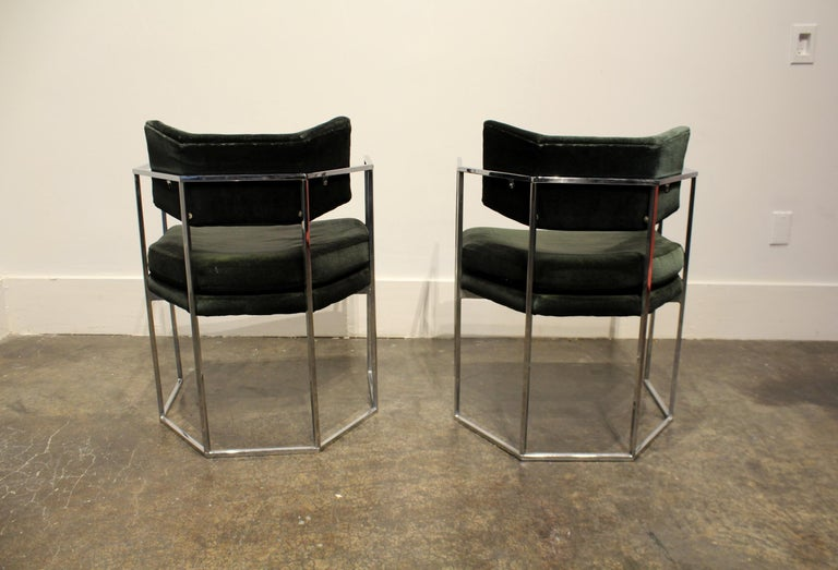Pair of Milo Baughman for Thayer Coggin Chrome Armchairs 4