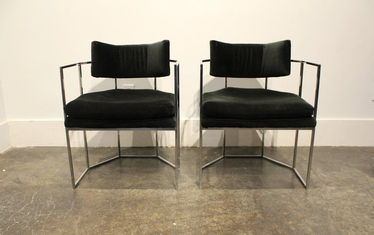Pair of Milo Baughman for Thayer Coggin Chrome Armchairs 5