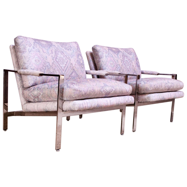 Pair of Milo Baughman for Thayer Coggin Chrome Flat Bar Lounge Chairs