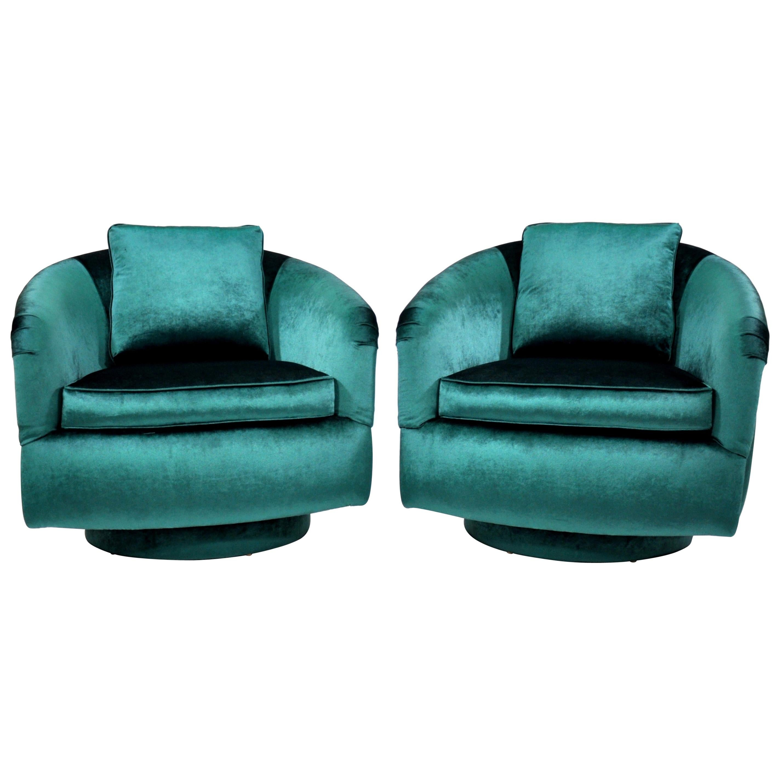 Pair of Milo Baughman for Thayer Coggin Green Velvet Swivel Lounge Chairs