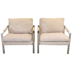 Pair of Milo Baughman for Thayer Coggin Mid-Century Modern Chrome Lounge Chairs