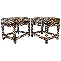 Pair of Milo Baughman for Thayer Coggin Ottomans with David Hicks Upholstery