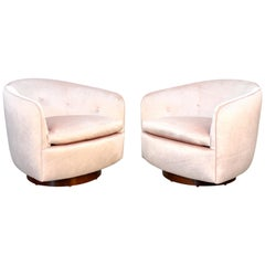 Pair of Milo Baughman for Thayer Coggin Pink Velvet Swivel Lounge Chairs