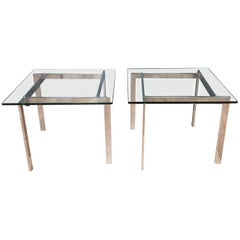 Pair of Milo Baughman for Thayer Coggin Polished Metal & Glass Side Tables