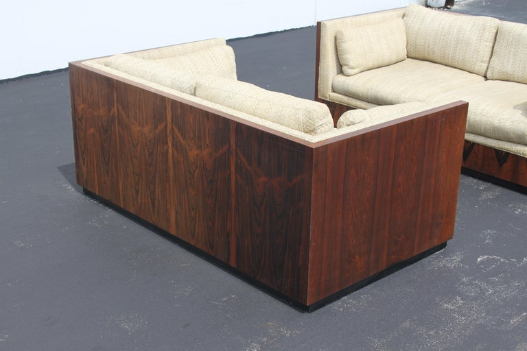 Pair of Milo Baughman for Thayer-Coggin Rosewood Settees, Loveseats or Sofas For Sale 4