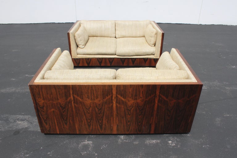 Mid-Century Modern Pair of Milo Baughman for Thayer-Coggin Rosewood Settees, Loveseats or Sofas For Sale