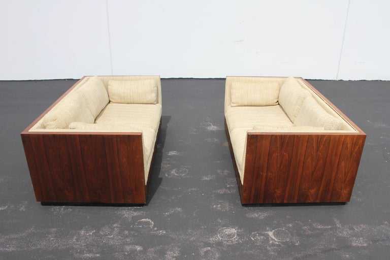 Pair of Milo Baughman for Thayer-Coggin Rosewood Settees, Loveseats or Sofas For Sale 2