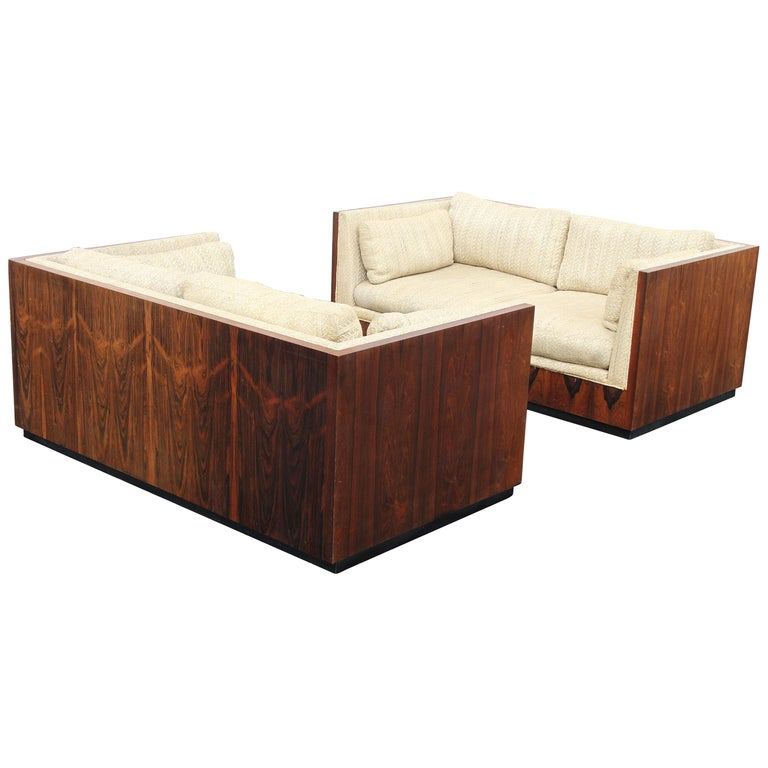 Pair of Milo Baughman for Thayer-Coggin Rosewood Settees, Loveseats or Sofas For Sale