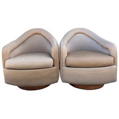 Pair of Milo Baughman for Thayer Coggin Swivel Tilt Lounge Chairs