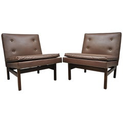 Pair of Milo Baughman for Thayer Coggin Teak and Vinyl Slipper Lounge Chairs