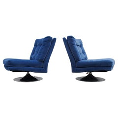 Pair of Milo Baughman for Thayer Coggin Tilt/Swivel Lounge Chairs