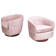 Pair of Milo Baughman for Thayer Coggin Walnut and Suede Swivel Chairs