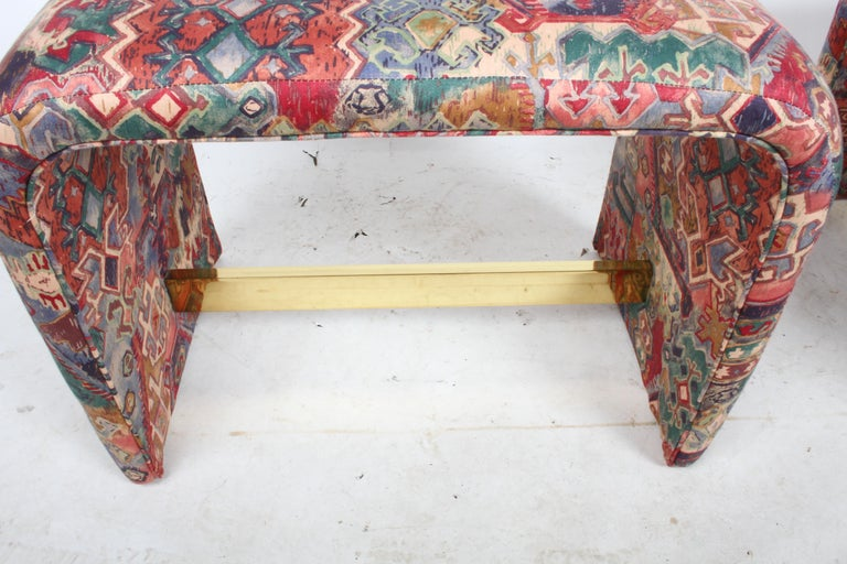 Hollywood Regency Pair of Milo Baughman for Thayer Coggin Waterfall Ottomans or Benches For Sale