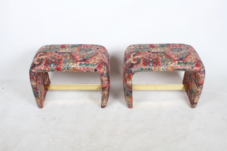 Brass Pair of Milo Baughman for Thayer Coggin Waterfall Ottomans or Benches For Sale