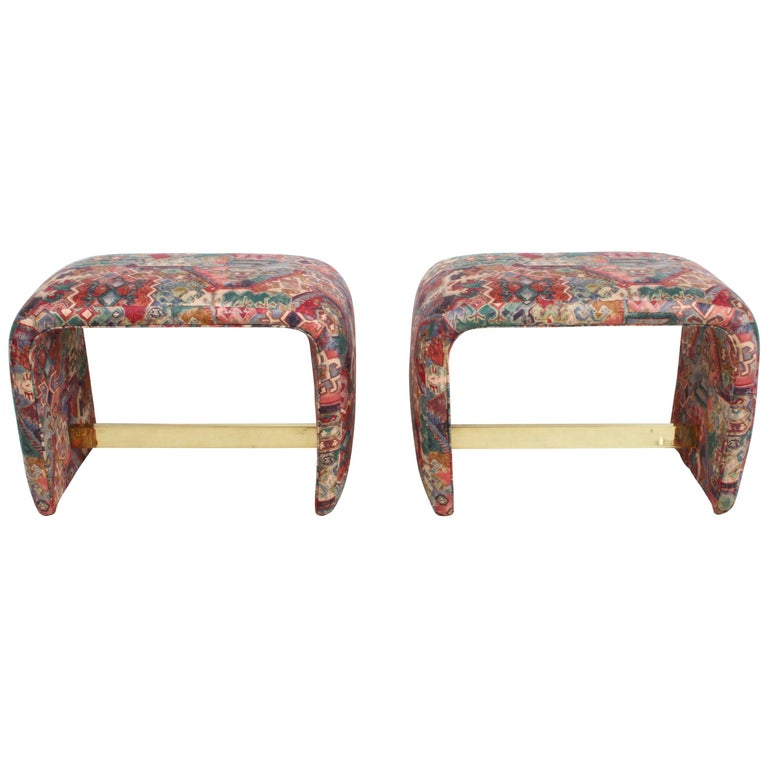 Pair of Milo Baughman for Thayer Coggin Waterfall Ottomans or Benches For Sale