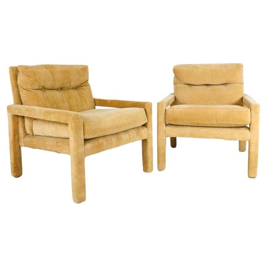 Pair of Milo Baughman Gold Velvet Parsons Chairs