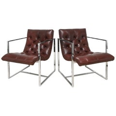 Pair of Milo Baughman Leather Tufted Cube Scoop Chrome Side Chairs