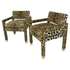 Pair of Milo Baughman Leopard Parsons Chairs with Brass Sabots