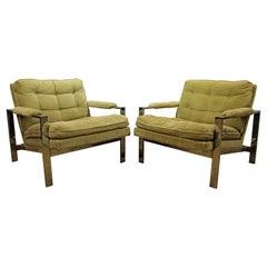 Pair of Milo Baughman Lounge Chairs by Thayer Coggin Chrome Flat Bar