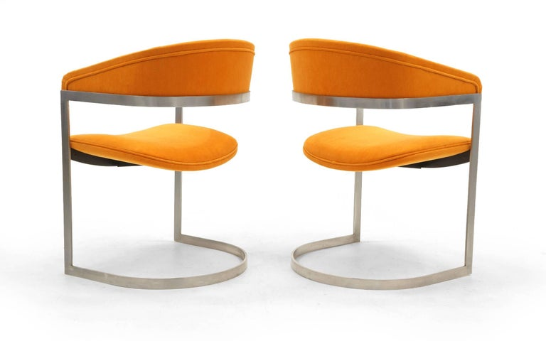 Mid-Century Modern Pair of Milo Baughman Occasional Chairs, Brushed Steel and Orange, Excellent For Sale