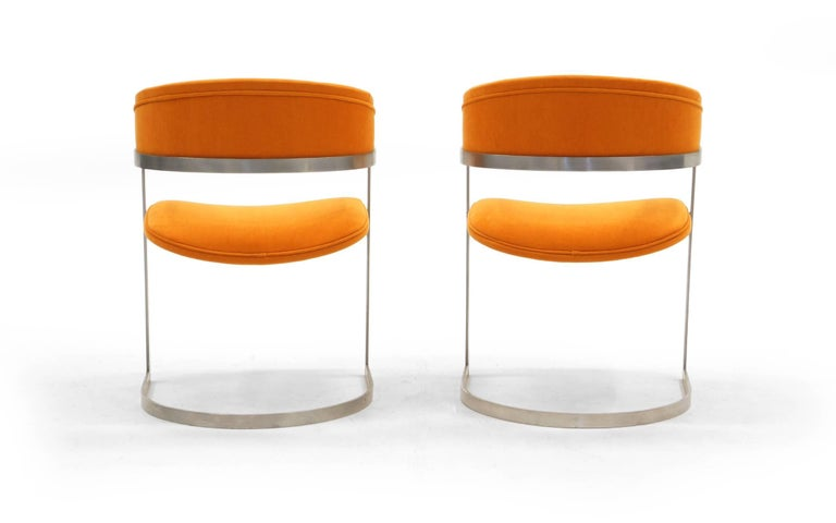 American Pair of Milo Baughman Occasional Chairs, Brushed Steel and Orange, Excellent For Sale