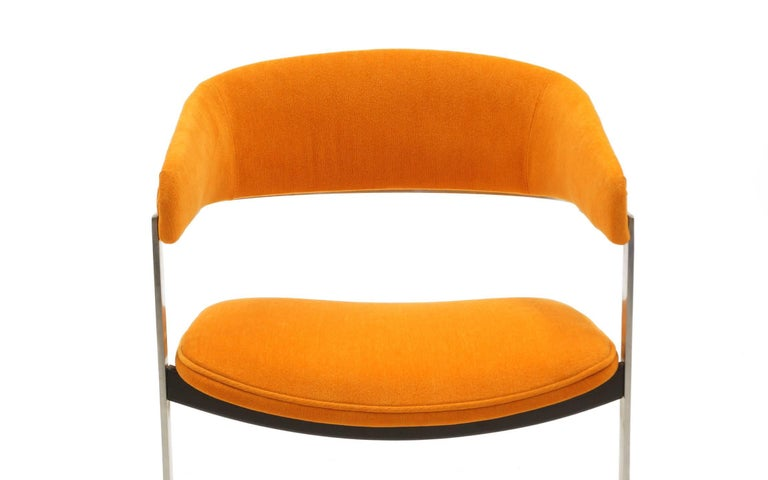 Pair of Milo Baughman Occasional Chairs, Brushed Steel and Orange, Excellent In Excellent Condition For Sale In Kansas City, MO