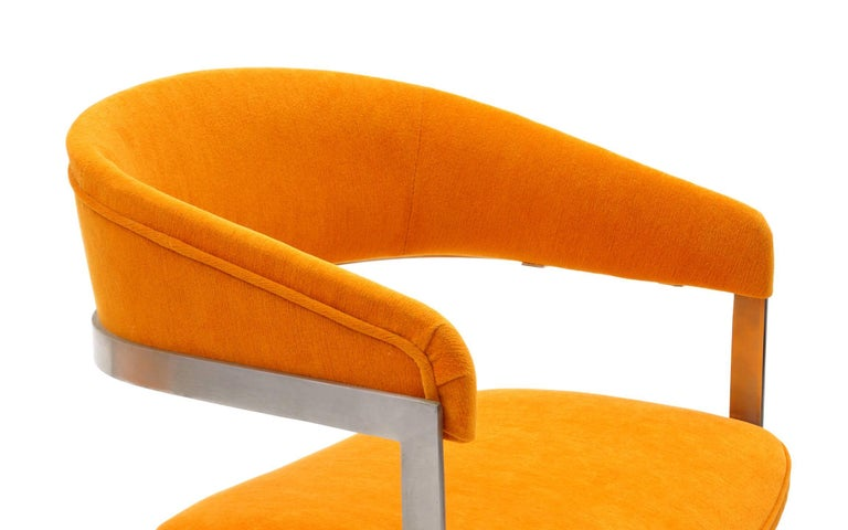 Late 20th Century Pair of Milo Baughman Occasional Chairs, Brushed Steel and Orange, Excellent For Sale