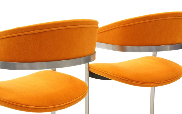 Upholstery Pair of Milo Baughman Occasional Chairs, Brushed Steel and Orange, Excellent For Sale