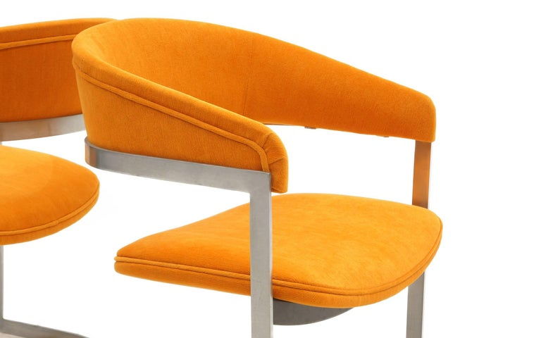 Pair of Milo Baughman Occasional Chairs, Brushed Steel and Orange, Excellent For Sale 1