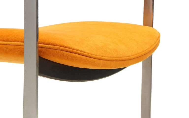 Pair of Milo Baughman Occasional Chairs, Brushed Steel and Orange, Excellent For Sale 2