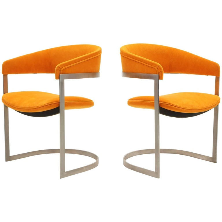 Pair of Milo Baughman Occasional Chairs, Brushed Steel and Orange, Excellent For Sale