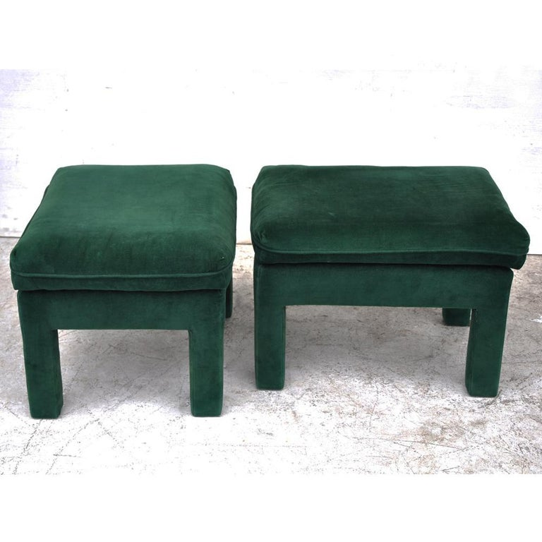 Pair of Milo Baughman Style Parson Stools Ottomans  In Good Condition For Sale In Pasadena, TX