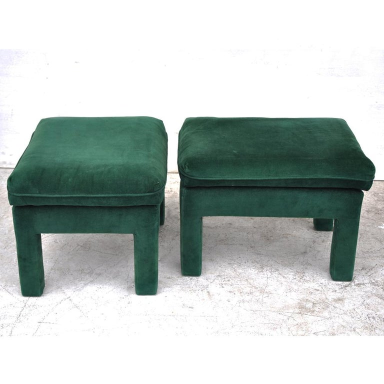 Pair of Milo Baughman Style Parson Stools Ottomans  For Sale 1