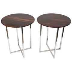 Pair of Milo Baughman Rosewood and Chrome Side Tables