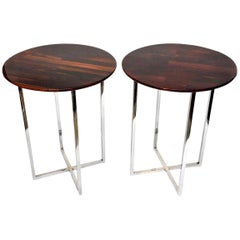 Pair of Milo Baughman Rosewood and Chrome Side Tables Vintage