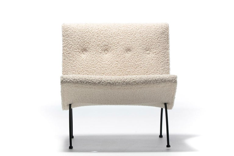 Pair of Milo Baughman Scoop Chairs in Ivory Bouclé with Iron Legs c. 1950s In Good Condition For Sale In Saint Louis, MO