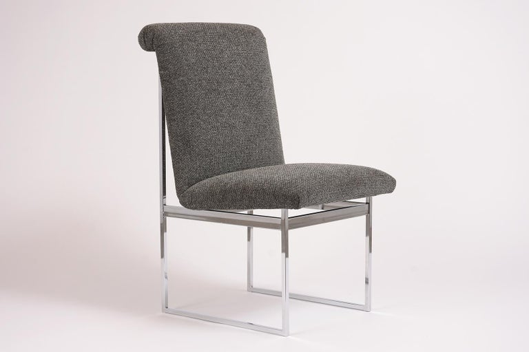 Hand-Crafted Pair of Milo Baughman Style Chrome Chairs For Sale