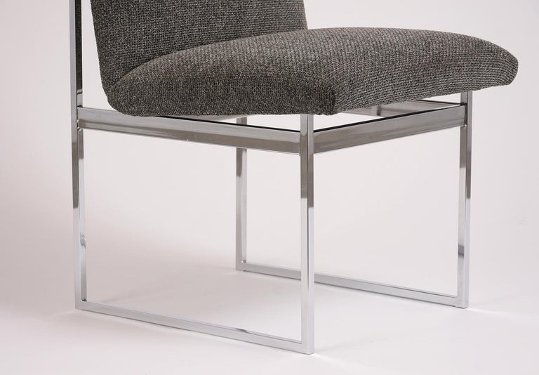 Mid-20th Century Pair of Milo Baughman Style Chrome Chairs For Sale