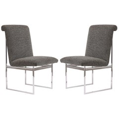Pair of Milo Baughman Style Chrome Chairs