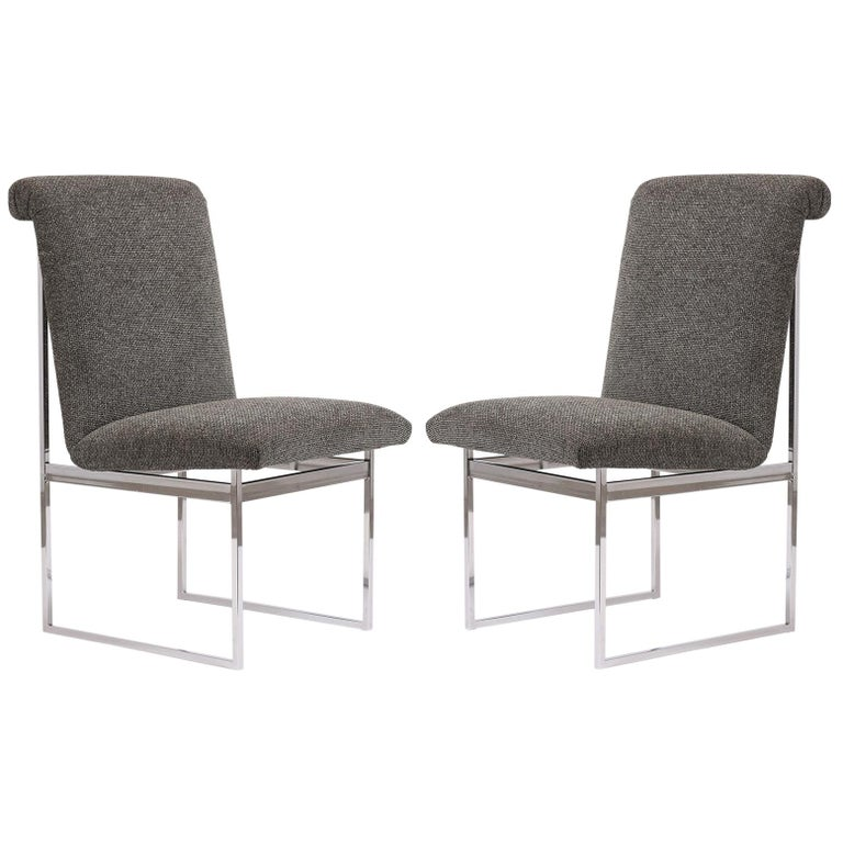 Pair of Milo Baughman Style Chrome Chairs For Sale
