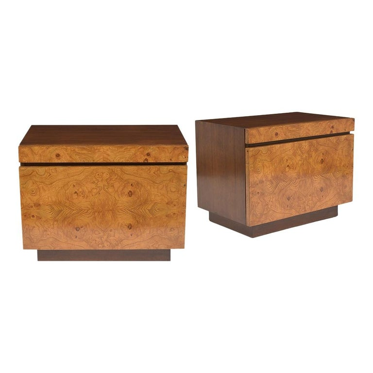 Pair of Milo Baughman Style Burled Nightstands For Sale