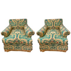 Pair of Milo Baughman Style Lewis Mittman Upholstered Swivel Armchairs