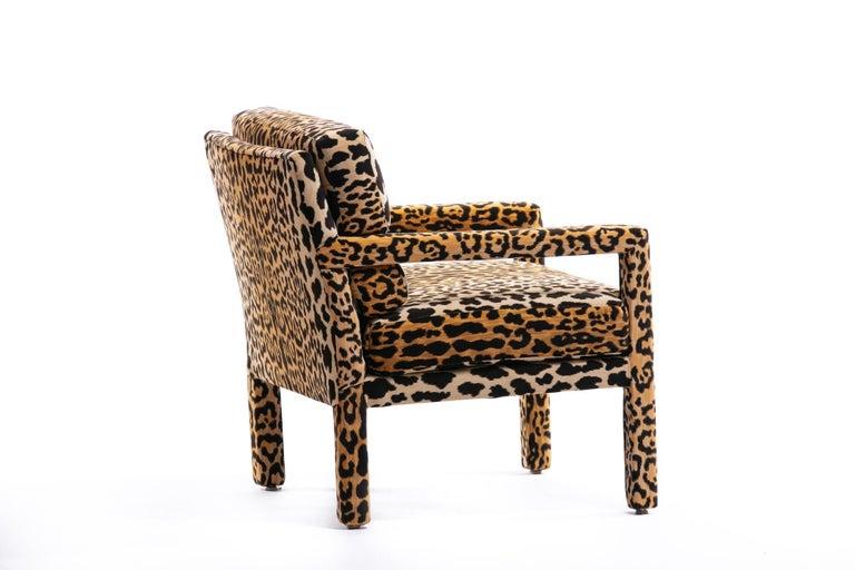 Pair of Milo Baughman Style Midcentury Parsons Chairs in Leopard Velvet 9
